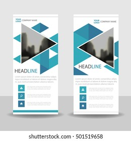 blue triangle business roll up banner flat design template abstract geometric banner template vector illustration