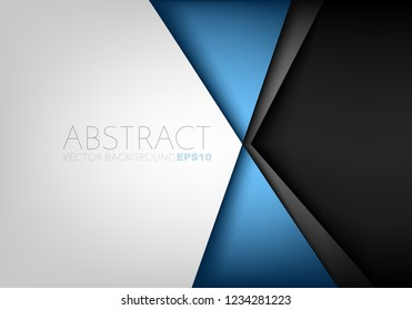 Blue triangle geometric vector background with white and black space for background design