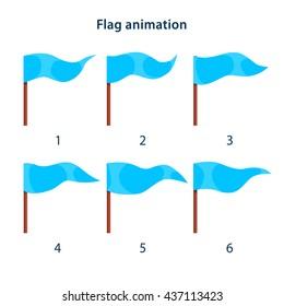 Blue triangle shape flag waving animation sprites on white background. Vector animation frames for game design
