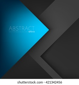Blue triangle vector background arrow angle paper layer overlap on black space unusual modern material for text and message artwork background design
