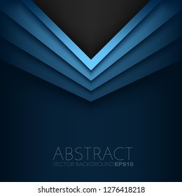 Blue triangle vector background with black space