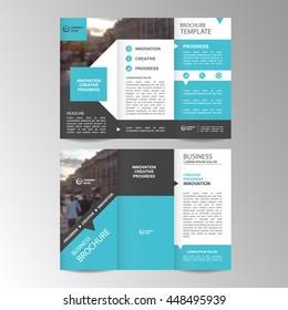Blue Trifold Business Brochure Leaflet Flyer or booklet template. Flat design set. Vector Illustration.