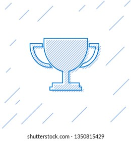 Blue Trophy cup line icon isolated on white background. Award symbol. Champion cup icon. Vector Illustration