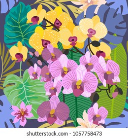 Blue tropical background with blooming yellow and purple orchids and palm leaves. Seamless botanical pattern with aloha motifs. Trendy design for textile, cards and invitations.