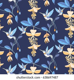Blue tropical or jungle background. Flowers and hummingbird seamless pattern.