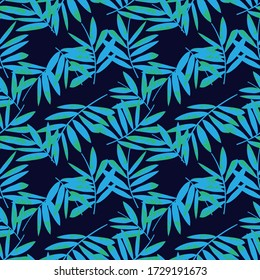 Blue Tropical Leaf botanical seamless pattern background suitable for fashion prints, graphics, backgrounds and crafts