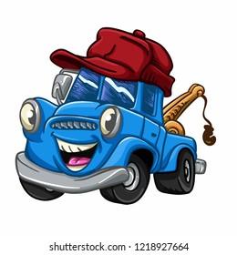 Blue truck - truck cartoon - cars for kids Vector Illustration