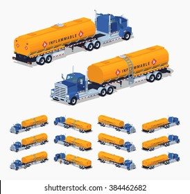Blue truck with the orange fuel tank. 3D lowpoly isometric vector illustration. The set of objects isolated against the white background and shown from different sides