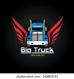 blue truck and red wigs logo screen
