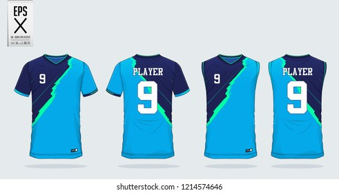 Blue t-shirt sport design template for soccer jersey, football kit and tank top for basketball jersey. Sport uniform in front and back view. Sport shirt mock up for sport club. Vector Illustration.