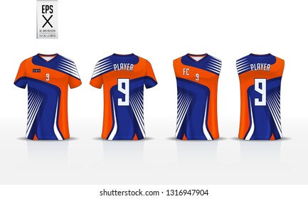Blue T-shirt sport template design for soccer jersey, football kit and tank top for basketball jersey. Sport uniform in front and back view. Sport shirt mock up for sport club. Vector Illustration.