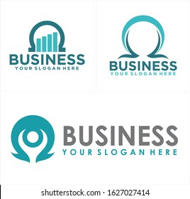 Blue turquoise chart growth horseshoe people omega symbol icon logo vector design suitable for business consulting management leadership coaching