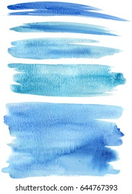 Blue turquoise watercolored strokes textured vector illustration