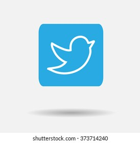 Blue Tweet Bird Vector Logo, JPG, JPEG, EPS.Twitter Icon Button.Flat Social Media Twiter Sign