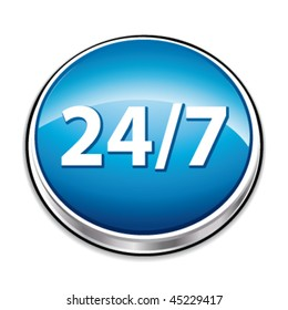 Blue twenty four seven button. Vector concept.
