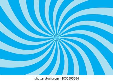 Blue Twirl Sunburst Pattern Abstract Background. Ray. Radial. Vector Illustration