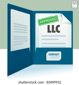 Blue two pocket folder with business card and Limited Liability Corporation approved documents