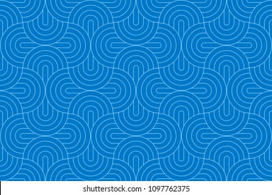 Blue two tone geometric line pattern seamless circle abstract vector design.
