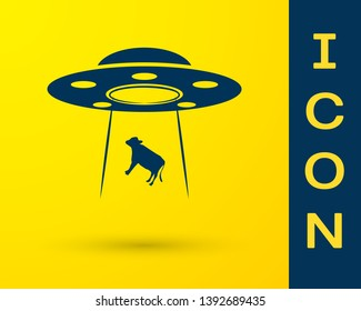 Blue UFO abducts cow icon isolated on yellow background. Flying saucer. Alien space ship. Futuristic unknown flying object. Vector Illustration
