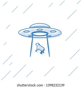 Blue UFO abducts cow line icon isolated on white background. Flying saucer. Alien space ship. Futuristic unknown flying object. Vector Illustration