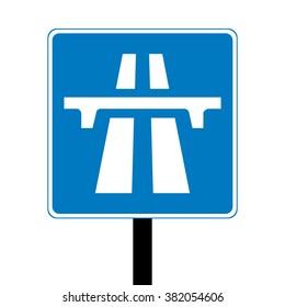 Blue UK Motorway Sign