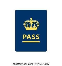 Blue UK passport icon. Clipart image isolated on white background.