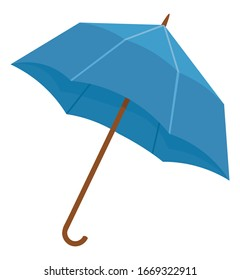 Blue umbrella or parasol isolated on white background. Folding canopy supported by metal ribs mounted on wooden pole. Equipment to protect person against rain or sunlight. Vector illustration in flat