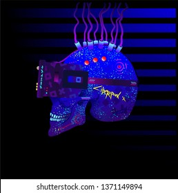 Blue under neon lighting Stylized as a cyberpunk skull in profile in virtual reality glasses with tubes and implants