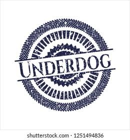 Blue Underdog rubber grunge seal