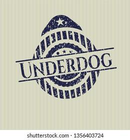 Blue Underdog rubber seal with grunge texture