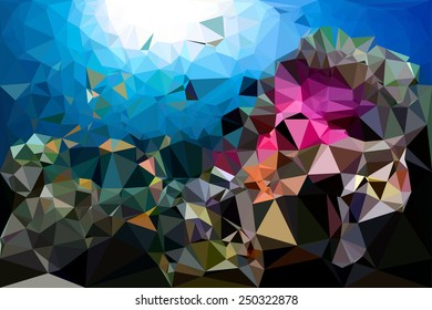 Blue underwater geometric rumpled triangular low poly style vector illustration graphic background
