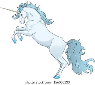blue unicorn standing on hind legs