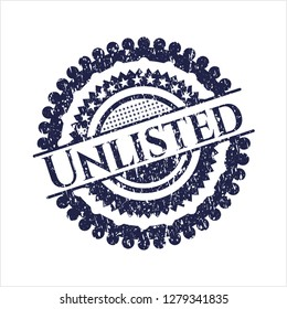 Blue Unlisted rubber grunge stamp
