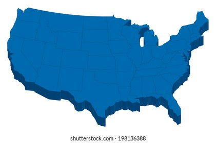 Blue USA map in 3-Dimension