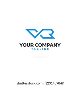Blue V R Vector Logo. Logo Illustration.