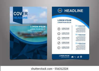 blue Vector annual report Leaflet Brochure Flyer template design, book cover layout design, Abstract blue presentation book cover or website templates