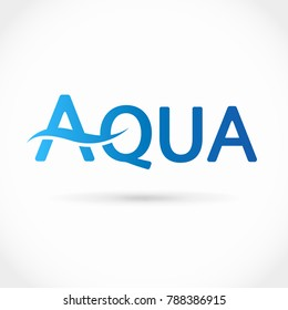 Blue vector aqua text logo with water wave