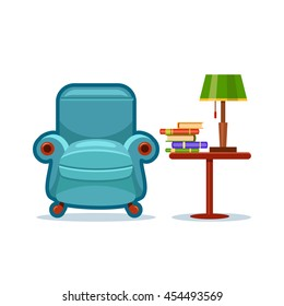 Blue vector armchair and a table with a green lamp and a pile of books on it. Love reading. Cartoon interior illustration. Cute furniture. Home library