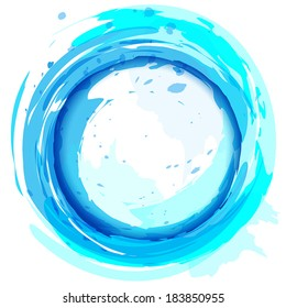 Blue vector background with brush strokes and splashes. Round frame.