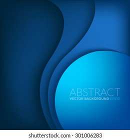 Blue vector background with circle and curve line element overlap layer paper for text and message artwork design