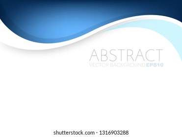 Blue vector background curve overlap layer on white space for design