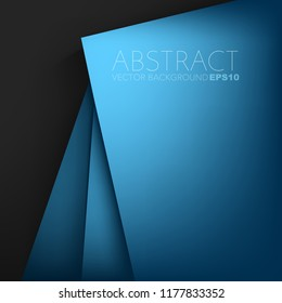 Blue vector background geometric overlap layer on silver and black space for background design