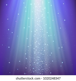 Blue vector background shining Starlight, purple and light blue. The lighting is mysterious, mystical from top to bottom. Fabulous light rays from the stars shimmer.