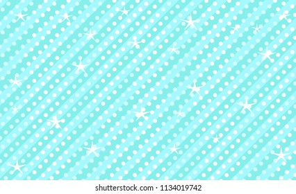 Blue vector background with stripes and polka dots. Cute kids mint backdrop for decoration girly party. Wrapper paper design for little prince. Beautiful light abstract pattern for boy party