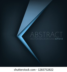 Blue vector background triangle geometric overlap on black space