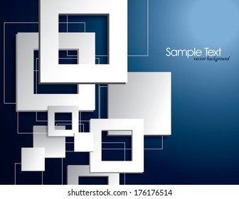 Blue Vector Background with White Squares.