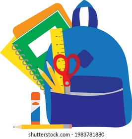 Blue Vector Backpack Filled with School Office Stationary Supplies