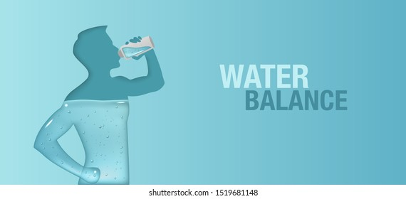 Blue vector banner of aqua balance in human body. Silhouette of man is drinking water.