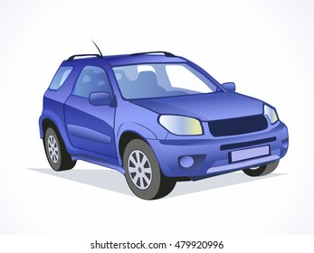 Blue vector car. Isolated car.