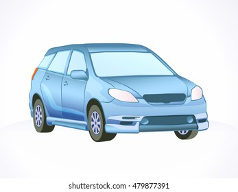 Blue vector car. Isolated urban car.